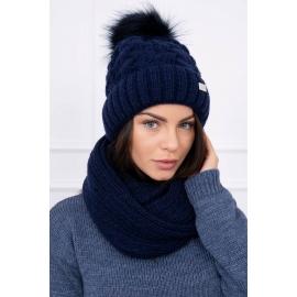 Ženska podložena kapa in šal K117, temno modra