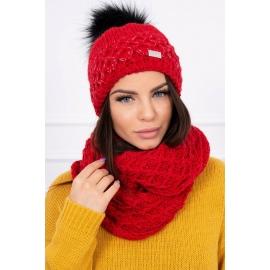 Ženska kapa in šal K119, rdeča