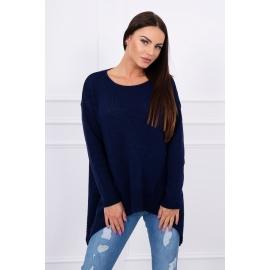 Ženski asimetričen pulover S7871, temno moder