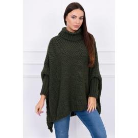 Ženski oversize pulover S8331, kaki