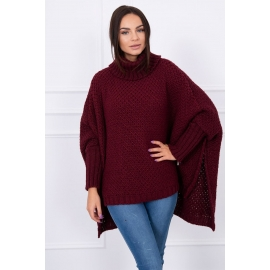 Ženski oversize pulover S8331, bordo