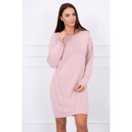 Ženski daljši pleten pulover S7614, puder roza