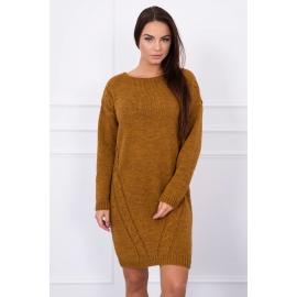 Ženski daljši pleten pulover S7614, moro