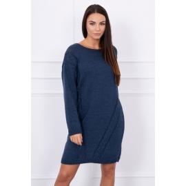 Ženski daljši pleten pulover S7614, jeans moder