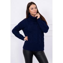 Ženski pleten pulover z visokim ovratnikom S8471, temno modra