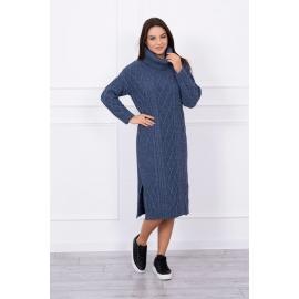 Ženska dolga pletena obleka z visokim ovratnikom S8481, jeans modra