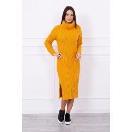 Ženska dolga pletena obleka z visokim ovratnikom S8481, gorčično rumena