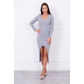 Klasična asimetrična obleka z izrezom spredaj 5038, siva