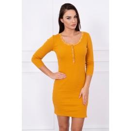 Obleka s čipko na ovratniku 4086, gorčično rumena