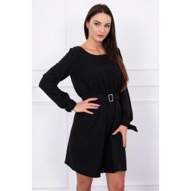 Obleka z žepi in vezavo v pasu 5078, črna