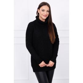 Pleten pulover z visokim ovratnikom S5128, črn