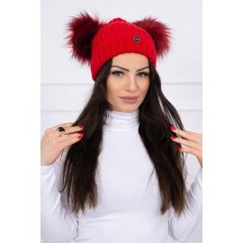 Ženska kapa z dvema cofoma, rdeča