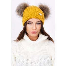 Ženska kapa z dvema cofoma, gorčično rumena