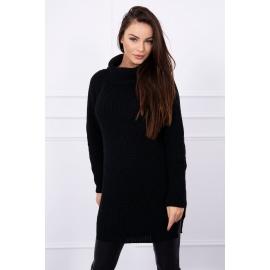 Ženski pleten pulover z režo na straneh S8281, črn