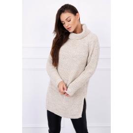 Ženski pleten pulover z režo na straneh S8281, svetlo bež