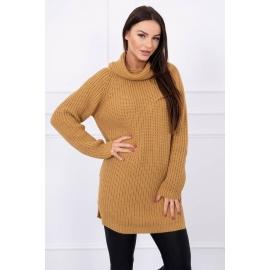Ženski pleten pulover z režo na straneh S8281, kamel
