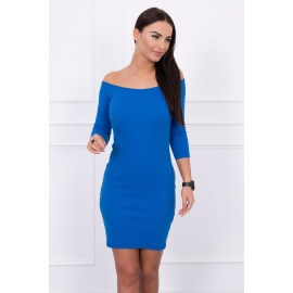 Obleka z golimi rameni 63887, modra