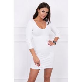 Obleka z gumbi na rokavih 5244, bela