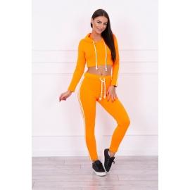 Ženski komplet s topom z dolgimi rokavi 8831, neonsko oranžen