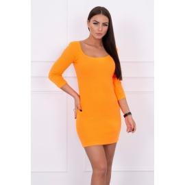Obleka z dekoltejem in 3/4 rokavi 8973, neonsko oranžna