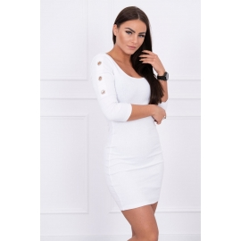 Obleka z okrasnimi obročki na rokavih 5324, bela