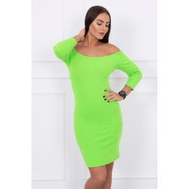 Rebrasta obleka z golimi rameni 8974, neonsko zelena