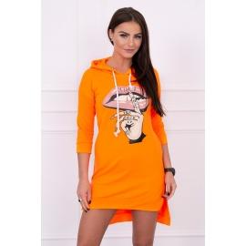 Asimetrična obleka s barvnim tiskom 64632, neonsko oranžna