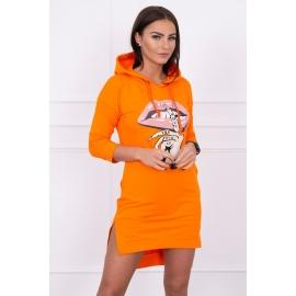 Asimetrična obleka s barvnim tiskom 64632, oranžna