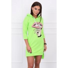 Asimetrična obleka s barvnim tiskom 64632, neonsko zelena