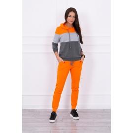 Ženski komplet z večbarvno jopico, oranžen/siv