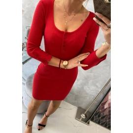 Telirana obleka z gumbi na dekolteju 8972, rdeča