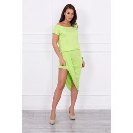 Asimetrična obleka s kratkimi rokavi 61524, svetlo zelena