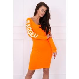 Obleka z napisom na rokavih Ragged 8828, neonsko oranžna