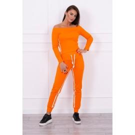 Ženski komplet z dvojno črto 8958, neonsko oranžen