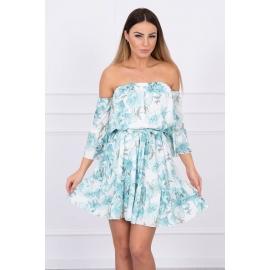 Ženska obleka s cvetličnim potiskom, mint