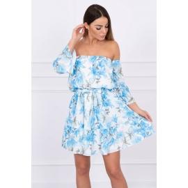 Ženska obleka s cvetličnim potiskom, svetlo modra