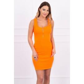 Obleka z dekorativno zadrgo na dekolteju 5429, neonsko oranžna