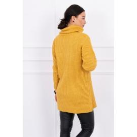 Daljši pleten pulover z visokim ovratnikom