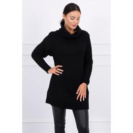 Daljši pleten pulover z visokim ovratnikom 2019-3, črn