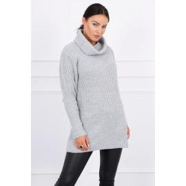Daljši pleten pulover z visokim ovratnikom 2019-3, siv