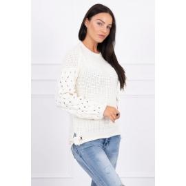 Ženski pleten pulover s pentljicami 2019-4, ekru