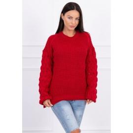 Ženski pleten pulover s pentljicami 2019-4, rdeč