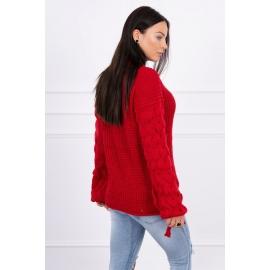 Ženski pleten pulover s pentljicami