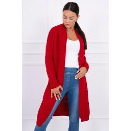 Dolga pletena jopica z vzorcem 2019-1, rdeča