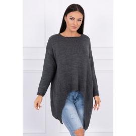 Ženski pleten asimetričen pulover 2019-5, temno siv