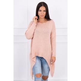 Ženski pleten asimetričen pulover 2019-5, puder roza