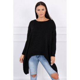 Ženski pleten asimetričen pulover 2019-5, črn