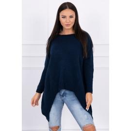 Ženski pleten asimetričen pulover 2019-5, temno moder