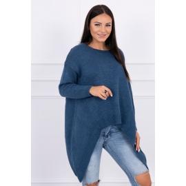 Ženski pleten asimetričen pulover 2019-5, jeans moder
