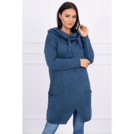 Ženski pleten pulover s kapuco in žepi 2019-6, jeans moder